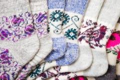 Gebreide sokken stock foto's
