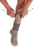 Gebreide sokken royalty-vrije stock afbeelding
