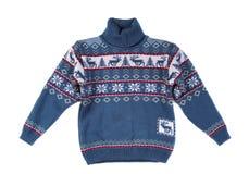 Gebreide sweater met een patroonhert Stock Fotografie