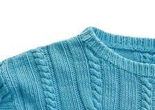 Gebreide sweaterkraag dicht omhoog op wit Royalty-vrije Stock Fotografie