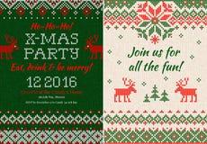 Gebreide Uitnodiging voor de partij van Kerstmiskerstmis Voorzijde en Rug Royalty-vrije Stock Afbeelding