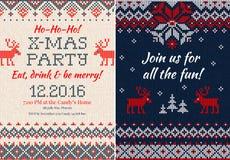 Gebreide Uitnodiging voor de partij van Kerstmiskerstmis Voorzijde en Rug Royalty-vrije Stock Fotografie
