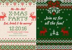 Gebreide Uitnodiging voor de partij van Kerstmiskerstmis Voorzijde en Rug Royalty-vrije Stock Foto's
