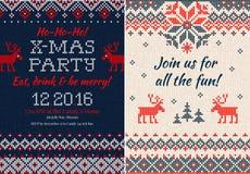 Gebreide Uitnodiging voor de partij van Kerstmiskerstmis Voorzijde en Rug Stock Afbeelding