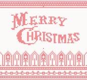 Gebreide Vrolijke Kerstmistekst Royalty-vrije Stock Foto