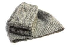 Gebreide vuisthandschoenen en hoed Royalty-vrije Stock Afbeelding