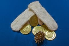 Gebreide vuisthandschoenen voor Kerstmis royalty-vrije stock fotografie
