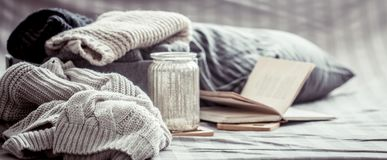 Gebreide warme sweaters Royalty-vrije Stock Foto's
