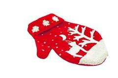 Gebreide Wollen Vuisthandschoen met Kerstmisdecoratie Royalty-vrije Stock Foto
