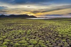 Gebrek aan water op reservoirgebieden Stock Foto