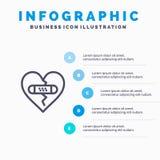 Gebrochen, Gefühle, Verzeihen, Herz, Liebes-Linie Ikone mit Hintergrund infographics Darstellung mit 5 Schritten stock abbildung