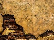 Gebrochene alte Weinlese-Brown-Betonmauer mit der Ziegelstein-Hintergrund-Beschaffenheit, hochauflösend Stockbilder