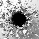 Gebrochene Betonmauer mit Einschussloch Abstraktes BAC der Zerstörung Stockfotos