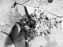 Gebrochene Betonmauer mit Kugelexplosionsloch Stockfoto
