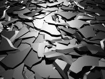 Gebrochene dunkle silberne Bodenoberfläche des defekten Schadens Stockfoto