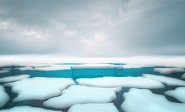 Gebrochene Eisbergstücke mit Hintergrundschablone des bewölkten Himmels stock abbildung