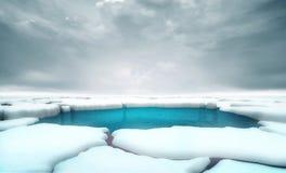 Gebrochene Eisbergstücke mit mittlerer Hintergrundschablone des Wasserabstandes vektor abbildung