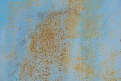 Gebrochene gemalte alte Metallbeschaffenheit Alte blaue Farbfarbenbeschaffenheit Stockbild