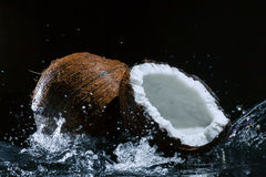Gebrochene Kokosnuss Lizenzfreies Stockbild