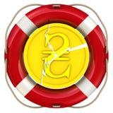 Gebrochene Münze des ukrainischen hryvnia im Rettungsring Stockbilder