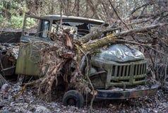 Gebrochene Militärbahn im alten Stil bleibt im Wald in der Tschornobyl-Ausschluss-Zone Gebrochener Baum legt auf seine Haube stockfoto