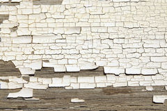 Gebrochene weiße Farbenbeschaffenheit auf altem Holz Lizenzfreies Stockbild