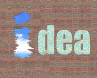 Gebrochene Ziegelsteinwand im Freien mit i-Form und Ideenwort auf ihm herein Stockfoto