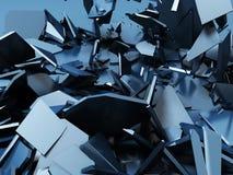 Gebrochener chaotischer Oberflächenhintergrund der blauen Demolierung Lizenzfreie Stockfotos