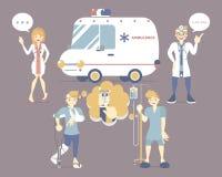 Gebrochener Knochen des Mannes, wenn iv-Salzlösung, Hände den Handy halten, der Krankenwagenauto mit männlichem und Ärztin, Patie vektor abbildung