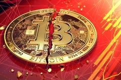 Gebrochenes bitcoin spaltete sich in zwei Stücken auf, die auf einen Schirm legen Der Schirm hat rotes Diagramm Bitcoin-Abnahmeko vektor abbildung
