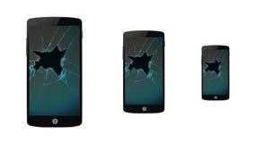 Gebrochenes Smartphone Stockfoto