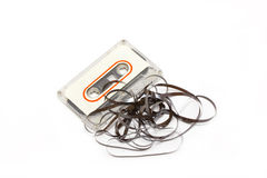 Gebroken audiocassette. Stock Foto