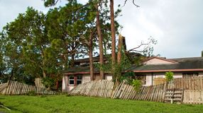Gebroken bomen en omheining na orkaan Irma stock afbeelding