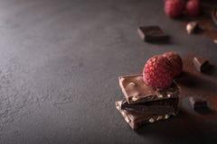 Gebroken chocoladestukken Stock Afbeelding