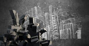 Gebroken concrete steen met Yensymbool in cityscape Royalty-vrije Stock Foto