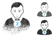 Gebroken de Sportmanpictogram van Pixel Halftone 2Nd Prizer met Gezicht stock illustratie
