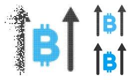 Gebroken Dot Halftone Bitcoin Send Arrows-Pictogram royalty-vrije illustratie