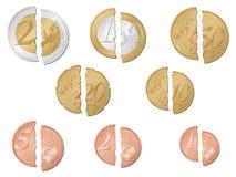 Gebroken euro muntstukken Royalty-vrije Stock Foto's