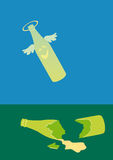 Gebroken fles royalty-vrije illustratie