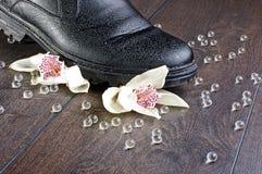 Gebroken gevoelsconcept met twee orchideeën Royalty-vrije Stock Foto