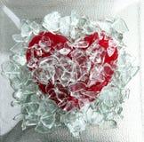 Gebroken glas rood hart Stock Foto