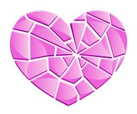 Gebroken glas roze hart royalty-vrije illustratie