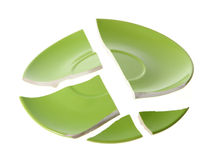 Gebroken groene plaat Stock Foto