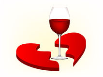 Gebroken hart en wijnglas Royalty-vrije Stock Foto's