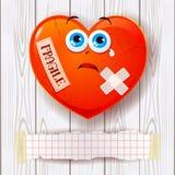 Gebroken hart op houten ruimte als achtergrond en exemplaar Stock Afbeeldingen