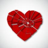 Gebroken hart op wit Stock Afbeelding
