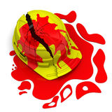 Gebroken helm in bloed Royalty-vrije Stock Foto