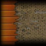 Gebroken houten planken op de achtergrond van een bakstenen muur vector illustratie