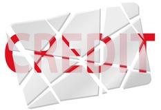 Gebroken kaartsymbool van slechte kredietschuld Stock Foto's