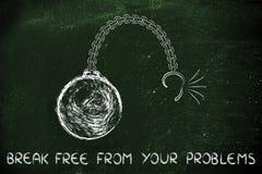 Gebroken ketting met bal en tekstonderbreking vrij van uw problemen Royalty-vrije Stock Foto